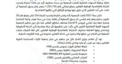 بلاغ: مساهمة جمعية تاليلت في التغطية الصحية للفنانين عن سنة 2021